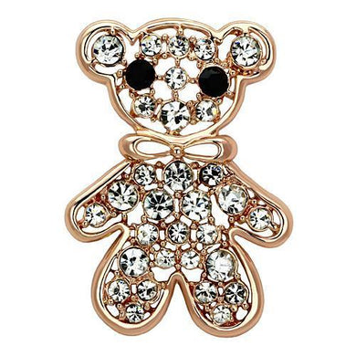 LO2792 - Flash Rose Gold White Metal Brooches with Top Grade Crystal  in Clear