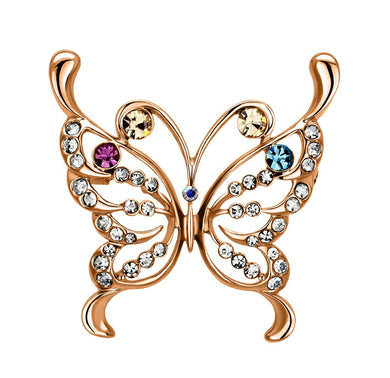 LO2793 - Imitation Rhodium White Metal Brooches with Top Grade Crystal  in Multi Color