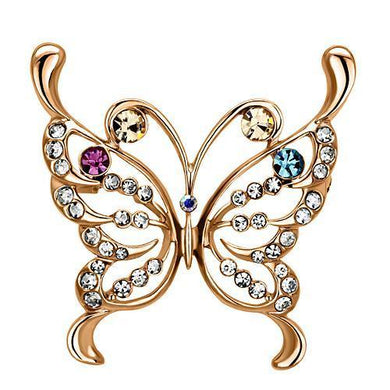 LO2794 - Flash Rose Gold White Metal Brooches with Top Grade Crystal  in Multi Color