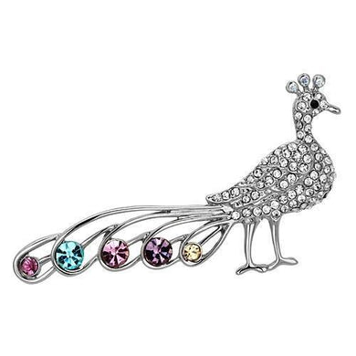 LO2797 - Imitation Rhodium White Metal Brooches with Top Grade Crystal  in Multi Color