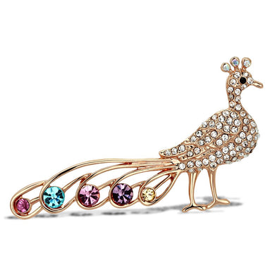 LO2798 - Flash Rose Gold White Metal Brooches with Top Grade Crystal  in Multi Color