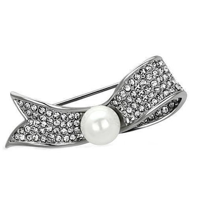 LO2799 - Imitation Rhodium White Metal Brooches with Synthetic Pearl in White