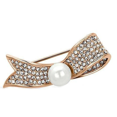 LO2800 - Flash Rose Gold White Metal Brooches with Synthetic Pearl in White