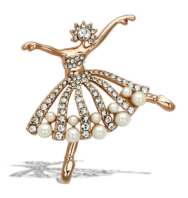 LO2802 - Flash Rose Gold White Metal Brooches with Synthetic Pearl in White