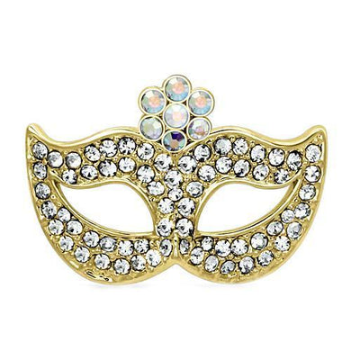 LO2808 - Flash Gold White Metal Brooches with Top Grade Crystal  in Aurora Borealis (Rainbow Effect)