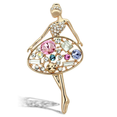 LO2817 - Flash Gold White Metal Brooches with Top Grade Crystal  in Multi Color