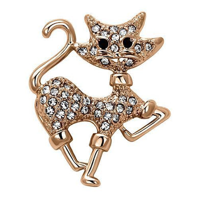 LO2820 - Flash Rose Gold White Metal Brooches with Top Grade Crystal  in Clear
