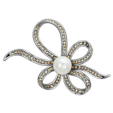 LO2840 - Imitation Rhodium White Metal Brooches with Synthetic Pearl in White