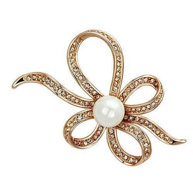 LO2841 - Flash Rose Gold White Metal Brooches with Synthetic Pearl in White