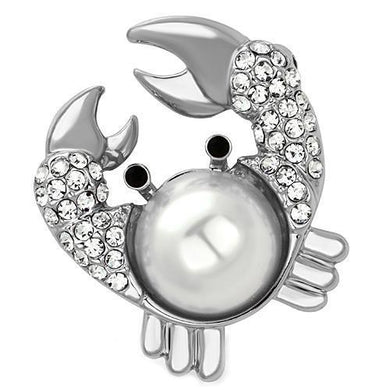 LO2842 - Imitation Rhodium White Metal Brooches with Synthetic Pearl in White