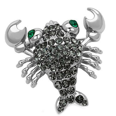 LO2850 - Imitation Rhodium White Metal Brooches with Top Grade Crystal  in Emerald