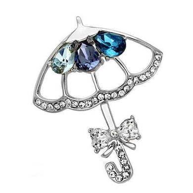 LO2854 - Imitation Rhodium White Metal Brooches with Synthetic Glass Bead in Multi Color