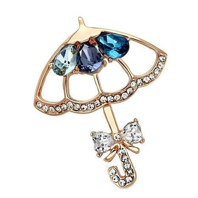 LO2855 - Flash Rose Gold White Metal Brooches with Synthetic Glass Bead in Multi Color