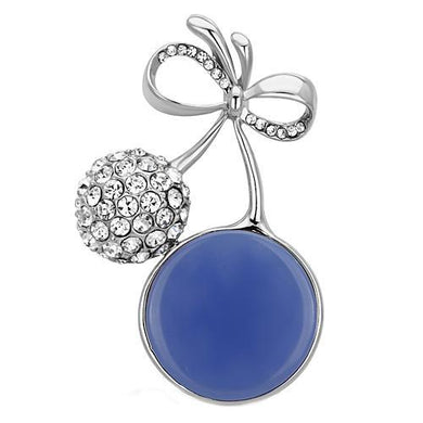 LO2856 - Imitation Rhodium White Metal Brooches with Synthetic Synthetic Stone in Capri Blue