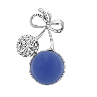 LO2857 - Flash Rose Gold White Metal Brooches with Synthetic Synthetic Stone in Capri Blue