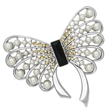 LO2868 - Imitation Rhodium White Metal Brooches with Synthetic Pearl in Jet