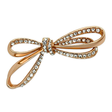 LO2891 - Flash Rose Gold White Metal Brooches with Top Grade Crystal  in Clear