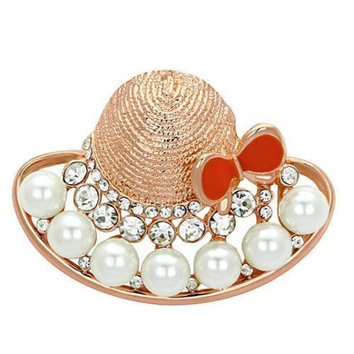 LO2902 - Flash Rose Gold White Metal Brooches with Synthetic Pearl in White
