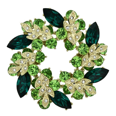 LO2918 - Flash Gold White Metal Brooches with Top Grade Crystal  in Emerald