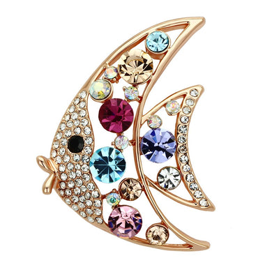 LO2923 - Flash Rose Gold White Metal Brooches with Top Grade Crystal  in Multi Color