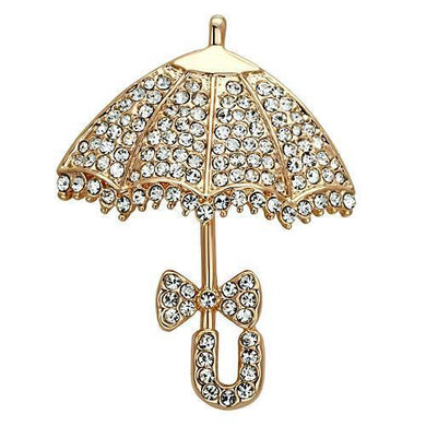 LO2937 - Flash Rose Gold White Metal Brooches with Top Grade Crystal  in Clear