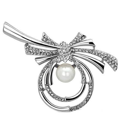 LO2938 - Imitation Rhodium White Metal Brooches with Synthetic Pearl in White