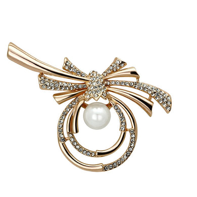 LO2939 - Flash Rose Gold White Metal Brooches with Synthetic Pearl in White