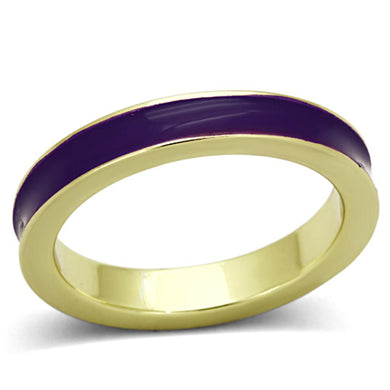 LO2969 Gold Brass Ring with Epoxy in Amethyst