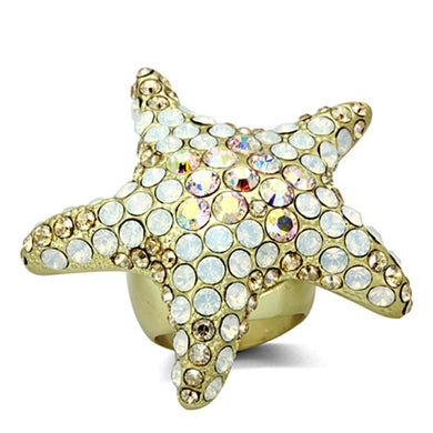LO2973 - Matte Gold Brass Ring with Top Grade Crystal  in Multi Color