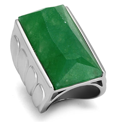 LO3023 - Rhodium Brass Ring with Synthetic Jade in Emerald