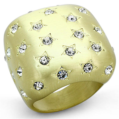 LO3037 - Gold & Brush Brass Ring with Top Grade Crystal  in Clear