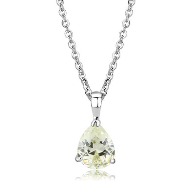 LO311 - Rhodium Brass Chain Pendant with AAA Grade CZ  in Citrine Yellow