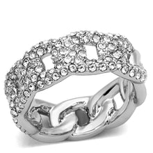 Load image into Gallery viewer, LO3210 - Rhodium Brass Ring with Top Grade Crystal  in Clear
