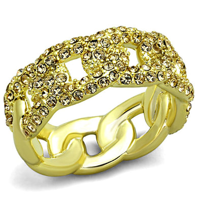 LO3215 - Gold Brass Ring with Top Grade Crystal  in Light Smoked