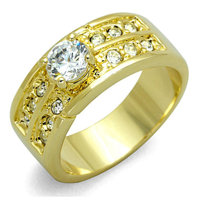 LO3218 - Gold Brass Ring with AAA Grade CZ  in Clear