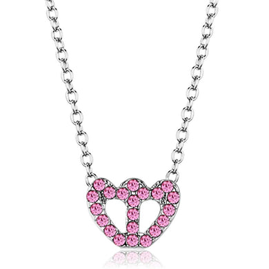 LO3230 - Rhodium Brass Chain Pendant with Top Grade Crystal  in Rose