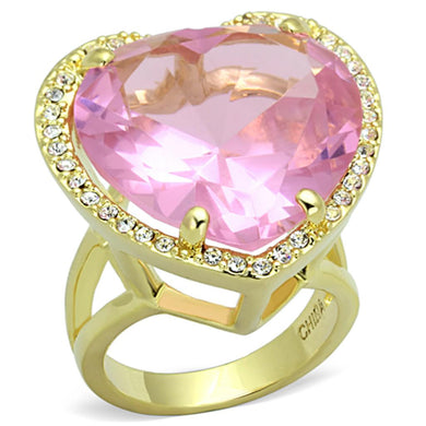 LO3251 - Gold Brass Ring with Synthetic Synthetic Glass in Rose
