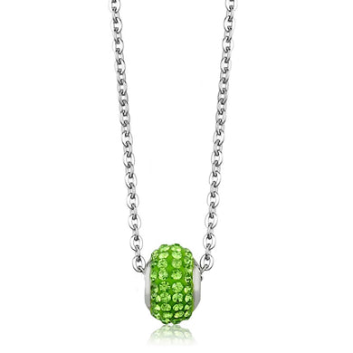 LO3330 - High polished (no plating) Stainless Steel Necklace with Top Grade Crystal  in Peridot