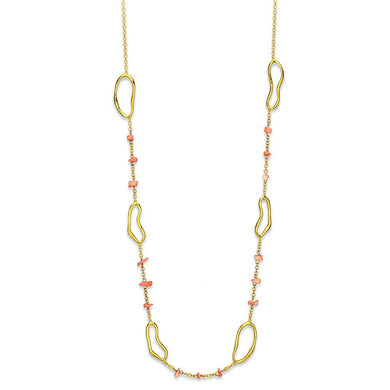 LO3340 - Gold Brass Necklace with Semi-Precious Coral in Rose
