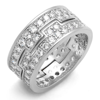 LO3348 - Rhodium Brass Ring with AAA Grade CZ  in Clear