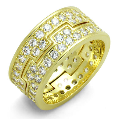 LO3349 - Gold Brass Ring with AAA Grade CZ  in Clear