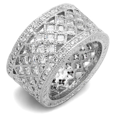 LO3350 - Rhodium Brass Ring with AAA Grade CZ  in Clear