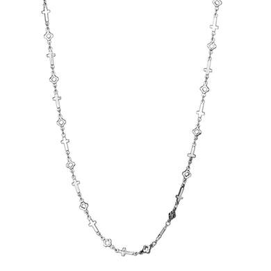 LO3452 - Rhodium Brass Necklace with No Stone