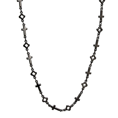 LO3454 - TIN Cobalt Black Brass Necklace with No Stone