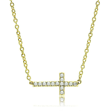 LO3477 - Flash Gold Brass Chain Pendant with Top Grade Crystal  in Clear