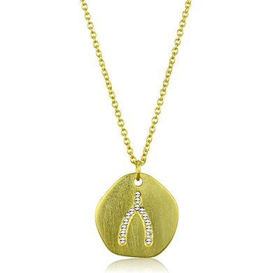 LO3479 - Gold & Brush Brass Chain Pendant with Top Grade Crystal  in Clear