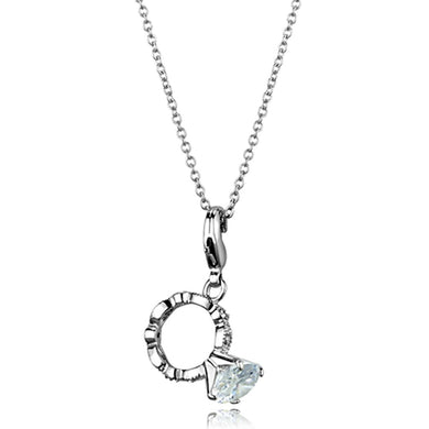 LO3490 - Rhodium Brass Pendant with AAA Grade CZ  in Clear