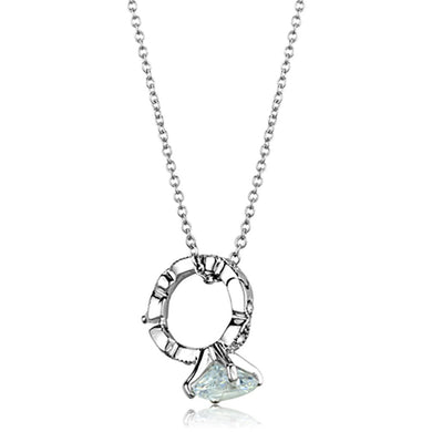 LO3494 - Rhodium Brass Pendant with AAA Grade CZ  in Clear