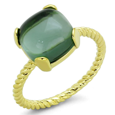 LO3546 - Gold Brass Ring with Synthetic Synthetic Glass in Emerald
