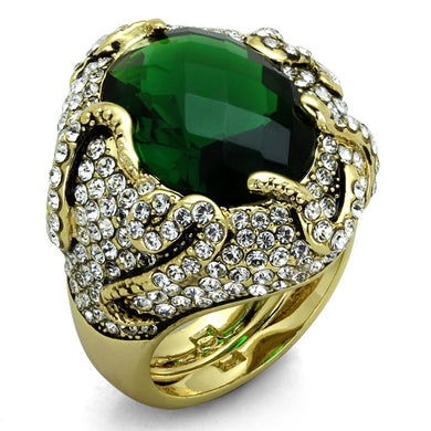 LO3588 - Flash Gold Brass Ring with Synthetic Synthetic Glass in Emerald